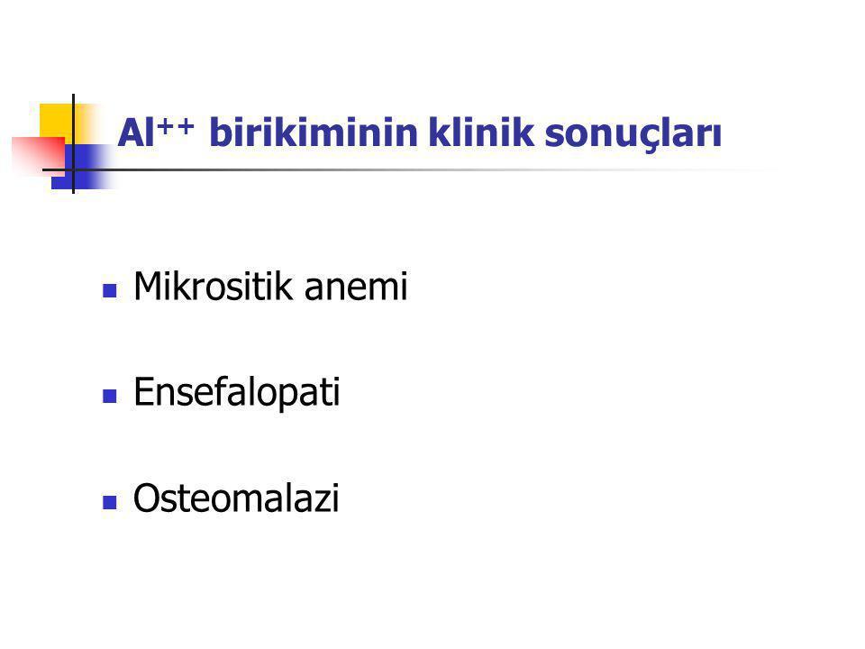Al ++ birikiminin klinik sonuçları Mikrositik anemi Ensefalopati Osteomalazi