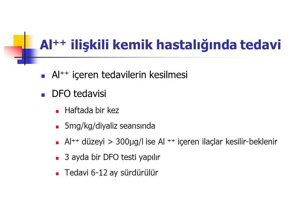 Al ++ ilişkili kemik hastalığında tedavi Al ++ içeren tedavilerin kesilmesi DFO tedavisi Haftada bir kez 5mg/kg/diyaliz seansında Al ++ düzeyi > 300µg/l ise Al ++ içeren ilaçlar kesilir-beklenir 3 ayda bir DFO testi yapılır Tedavi 6-12 ay sürdürülür