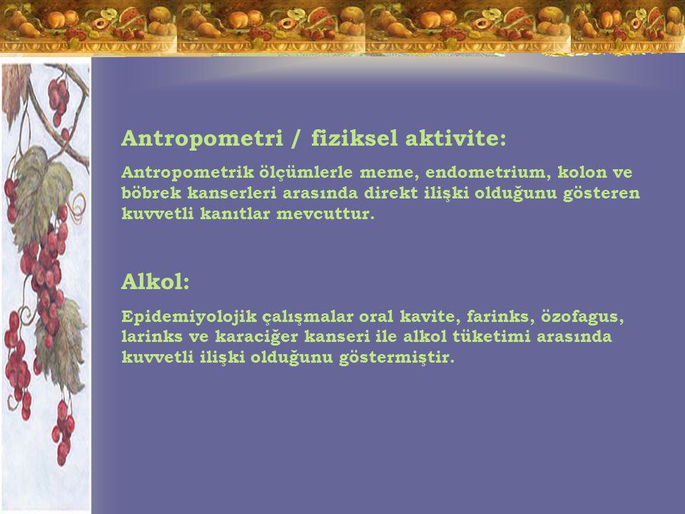Antropometri / fiziksel aktivite: Antropometrik ölçümlerle meme, endometrium, kolon ve böbrek kanserleri arasında direkt ilişki olduğunu gösteren kuvvetli kanıtlar mevcuttur.