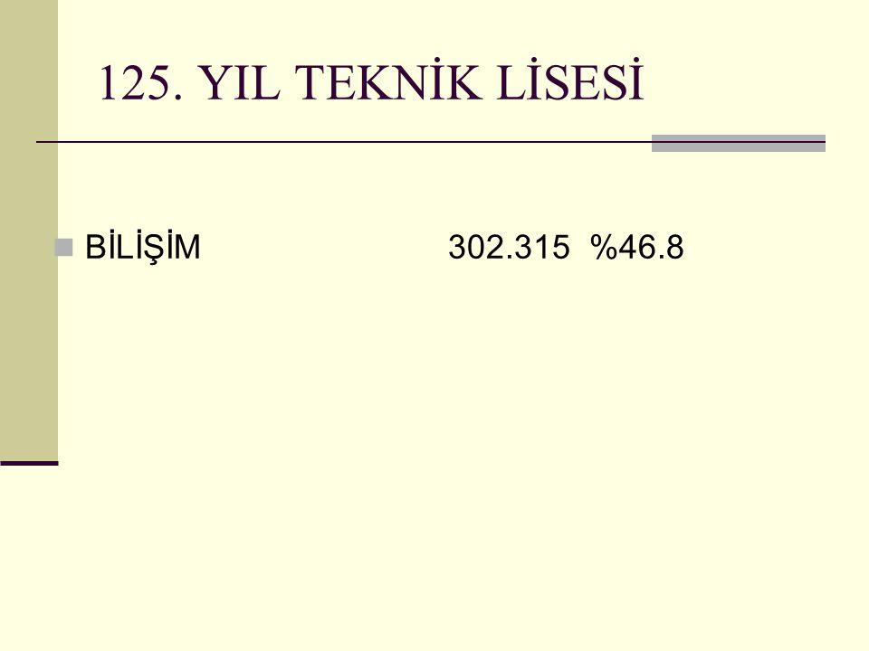 125. YIL TEKNİK LİSESİ BİLİŞİM 302.315 %46.8