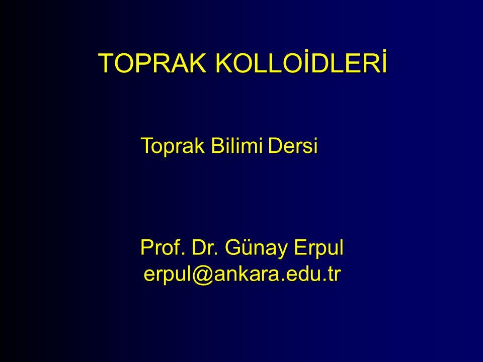 TOPRAK KOLLOİDLERİ Toprak Bilimi Dersi Prof. Dr. Günay Erpul erpul@ankara.edu.tr