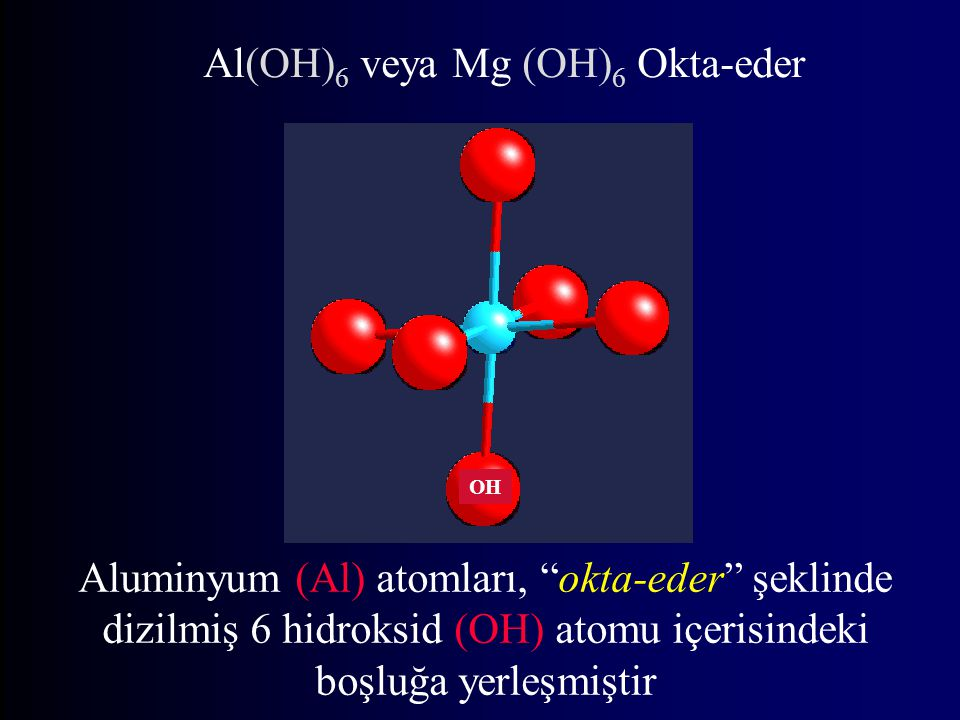 Al(OH) 6 veya Mg (OH) 6 Okta-eder OH Aluminyum (Al) atomları, okta-eder şeklinde dizilmiş 6 hidroksid (OH) atomu içerisindeki boşluğa yerleşmiştir