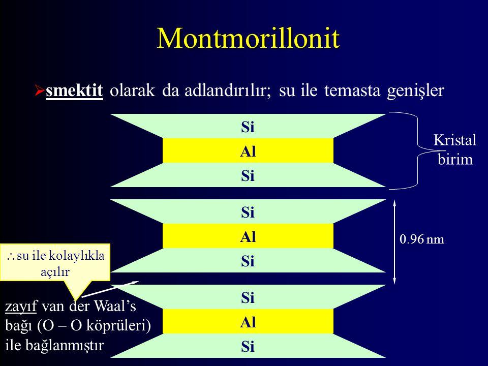 Montmorillonit  smektit olarak da adlandırılır; su ile temasta genişler Si Al Si Al Si Al Si 0.96 nm zayıf van der Waal's bağı (O – O köprüleri) ile bağlanmıştır  su ile kolaylıkla açılır Kristal birim