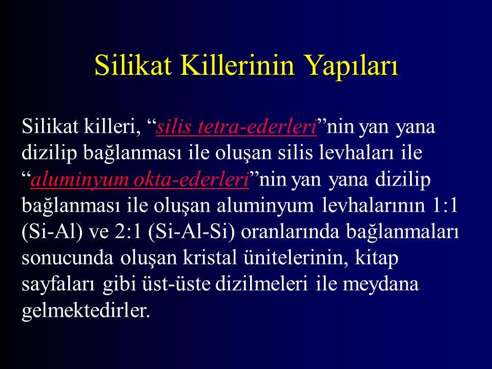 Silikat Killerinin Oluşmaları 2KAlSi 3 O 8 + H 2 CO 3 + H 2 O  H 4 Al 2 Si 2 O 9 + K 2 CO 3 + 4SiO 2 Mikroklin Çözünebilir karbonat Hidrate silikat