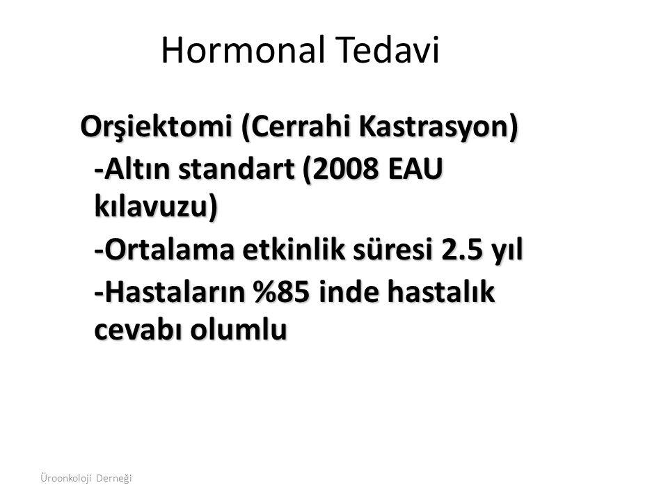 Orşiektomi (Cerrahi Kastrasyon) -Altın standart (2008 EAU kılavuzu) -Ortalama etkinlik süresi 2.5 yıl -Hastaların %85 inde hastalık cevabı olumlu Horm