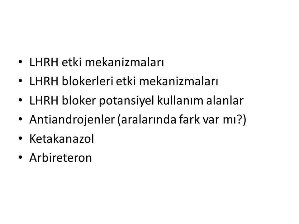 LHRH etki mekanizmaları LHRH blokerleri etki mekanizmaları LHRH bloker potansiyel kullanım alanlar Antiandrojenler (aralarında fark var mı?) Ketakanaz