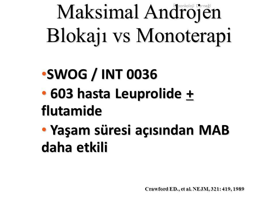 Maksimal Androjen Blokajı vs Monoterapi SWOG / INT 0036 SWOG / INT 0036 603 hasta Leuprolide + flutamide 603 hasta Leuprolide + flutamide Yaşam süresi