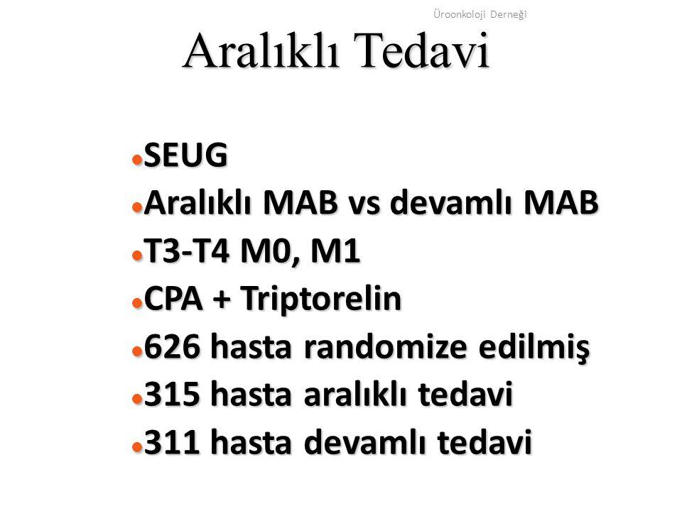 Üroonkoloji Derneği Aralıklı Tedavi SEUG SEUG Aralıklı MAB vs devamlı MAB Aralıklı MAB vs devamlı MAB T3-T4 M0, M1 T3-T4 M0, M1 CPA + Triptorelin CPA
