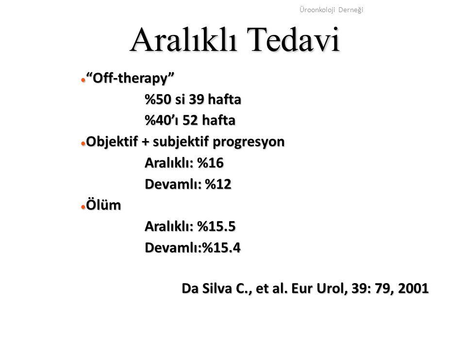 """Üroonkoloji Derneği Aralıklı Tedavi """"Off-therapy"""" """"Off-therapy"""" %50 si 39 hafta %40'ı 52 hafta Objektif + subjektif progresyon Objektif + subjektif pr"""