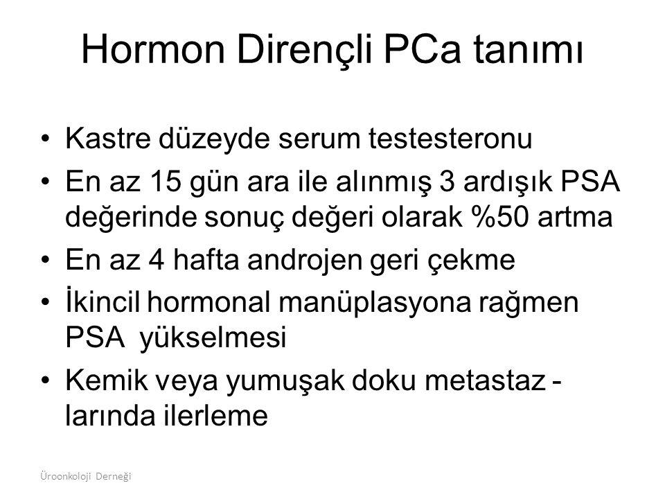 Hormon Dirençli PCa tanımı Kastre düzeyde serum testesteronu En az 15 gün ara ile alınmış 3 ardışık PSA değerinde sonuç değeri olarak %50 artma En az