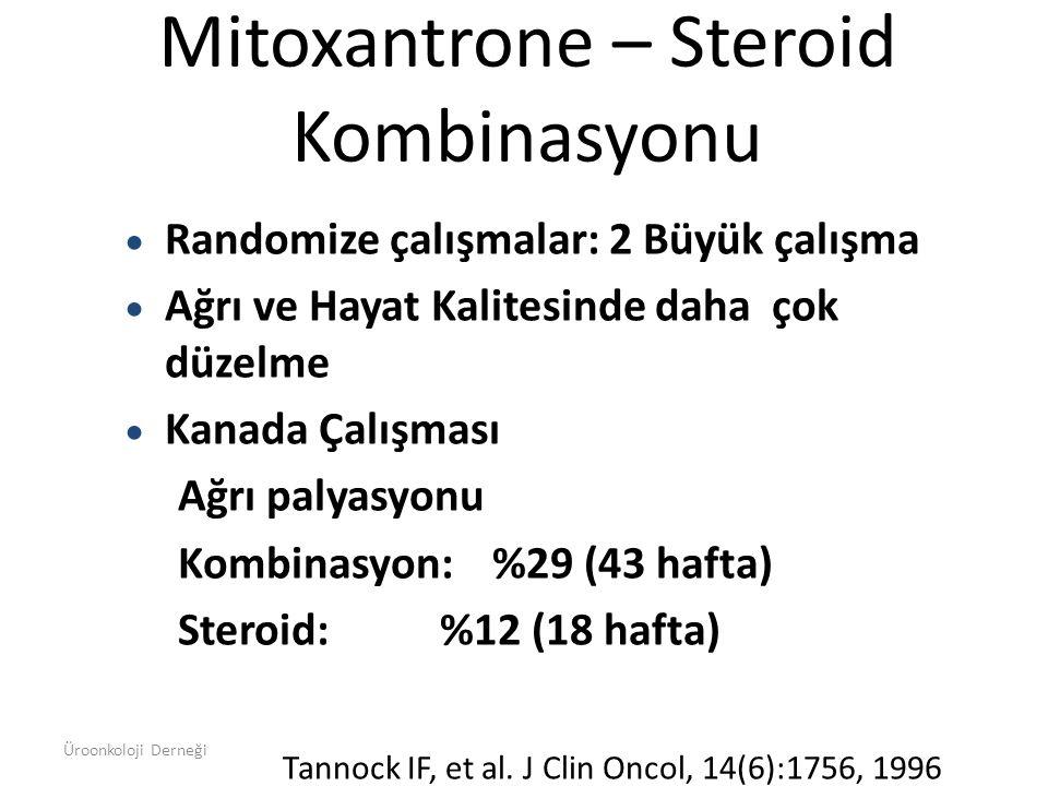 Mitoxantrone – Steroid Kombinasyonu  Randomize çalışmalar: 2 Büyük çalışma  Ağrı ve Hayat Kalitesinde daha çok düzelme  Kanada Çalışması Ağrı palya