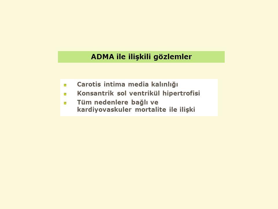 ADMA ile ilişkili gözlemler Carotis intima media kalınlığı Konsantrik sol ventrikül hipertrofisi Tüm nedenlere bağlı ve kardiyovaskuler mortalite ile