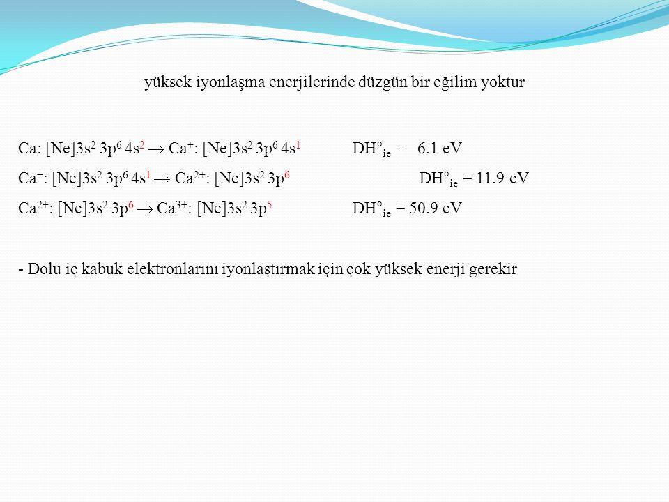 yüksek iyonlaşma enerjilerinde düzgün bir eğilim yoktur Ca: [Ne]3s 2 3p 6 4s 2  Ca + : [Ne]3s 2 3p 6 4s 1 DH° ie = 6.1 eV Ca + : [Ne]3s 2 3p 6 4s 1 