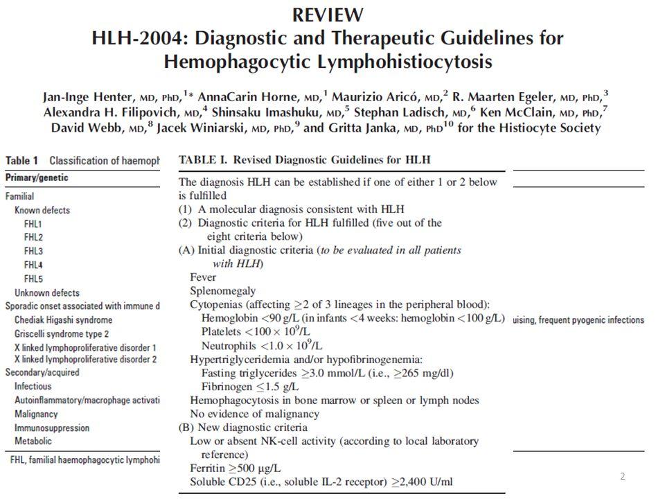 23 Hiperferritinemi ilişkili sepsis/ÇOY/SHLH/MAS primer HLH için önerilen kemoterapi protokolüne göre daha az immunsupresif tedaviler ile düzelebilir.