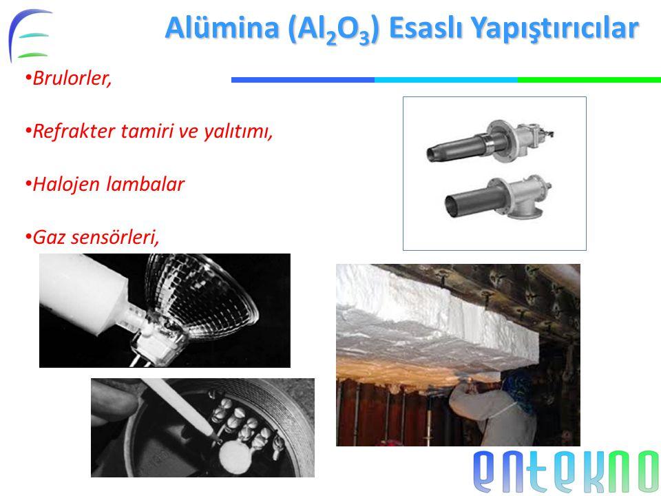 Alümina (Al 2 O 3 ) Esaslı Yapıştırıcılar Brulorler, Refrakter tamiri ve yalıtımı, Halojen lambalar Gaz sensörleri,
