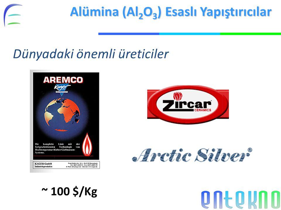 Alümina (Al 2 O 3 ) Esaslı Yapıştırıcılar Dünyadaki önemli üreticiler ~ 100 $/Kg