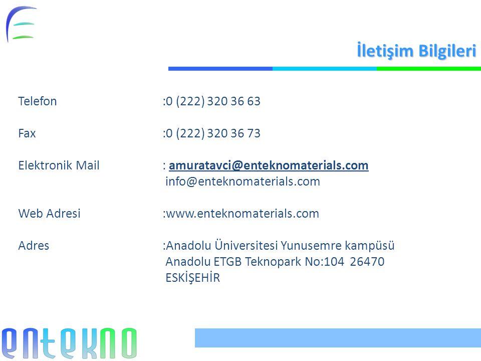İletişim Bilgileri Telefon:0 (222) 320 36 63 Fax:0 (222) 320 36 73 Elektronik Mail: amuratavci@enteknomaterials.com info@enteknomaterials.com Web Adresi:www.enteknomaterials.com Adres:Anadolu Üniversitesi Yunusemre kampüsü Anadolu ETGB Teknopark No:104 26470 ESKİŞEHİR