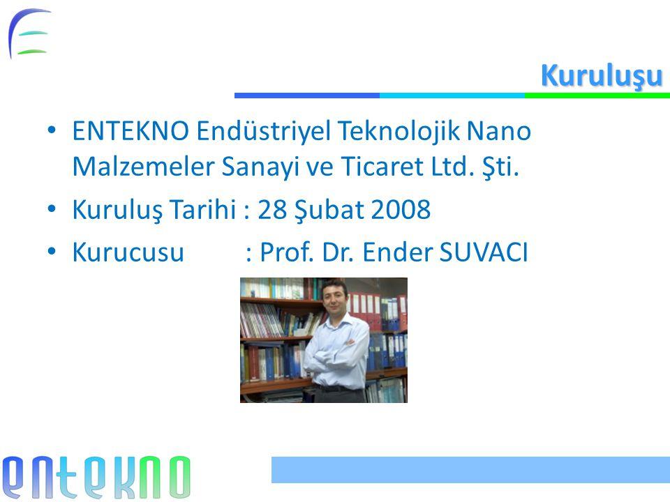 Kuruluşu ENTEKNO Endüstriyel Teknolojik Nano Malzemeler Sanayi ve Ticaret Ltd. Şti. Kuruluş Tarihi : 28 Şubat 2008 Kurucusu : Prof. Dr. Ender SUVACI
