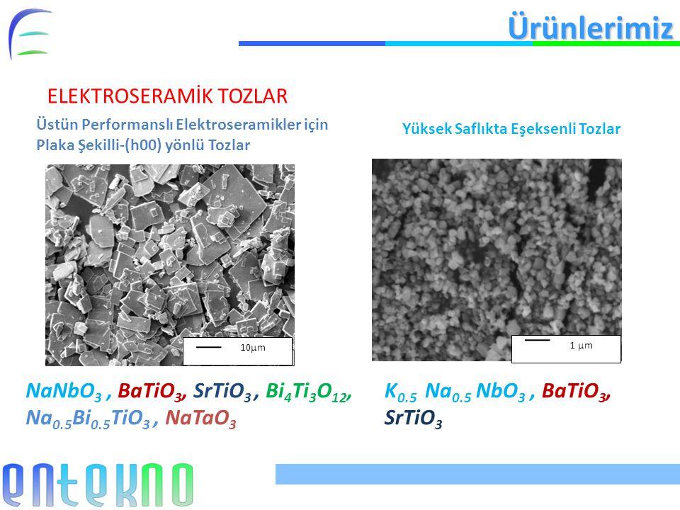 Ürünlerimiz ELEKTROSERAMİK TOZLAR Üstün Performanslı Elektroseramikler için Plaka Şekilli-(h00) yönlü Tozlar Yüksek Saflıkta Eşeksenli Tozlar 10  m NaNbO 3, BaTiO 3, SrTiO 3, Bi 4 Ti 3 O 12, Na 0.5 Bi 0.5 TiO 3, NaTaO 3 1  m K 0.5 Na 0.5 NbO 3, BaTiO 3, SrTiO 3