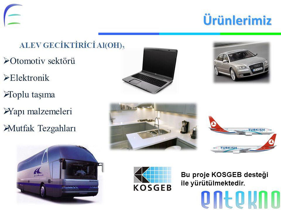 ALEV GECİKTİRİCİ Al(OH) 3  Otomotiv sektörü  Elektronik  Toplu taşıma  Yapı malzemeleri  Mutfak Tezgahları Ürünlerimiz Bu proje KOSGEB desteği ile yürütülmektedir.