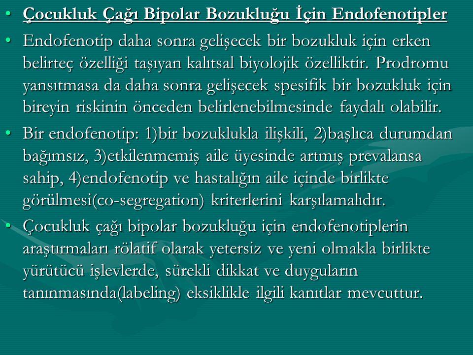 Çocukluk Çağı Bipolar Bozukluğu İçin EndofenotiplerÇocukluk Çağı Bipolar Bozukluğu İçin Endofenotipler Endofenotip daha sonra gelişecek bir bozukluk i