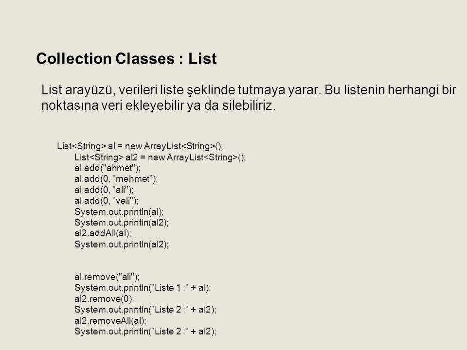 List arayüzü, verileri liste şeklinde tutmaya yarar. Bu listenin herhangi bir noktasına veri ekleyebilir ya da silebiliriz. Collection Classes : List