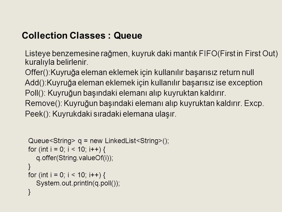 Listeye benzemesine rağmen, kuyruk daki mantık FIFO(First in First Out) kuralıyla belirlenir. Offer():Kuyruğa eleman eklemek için kullanılır başarısız