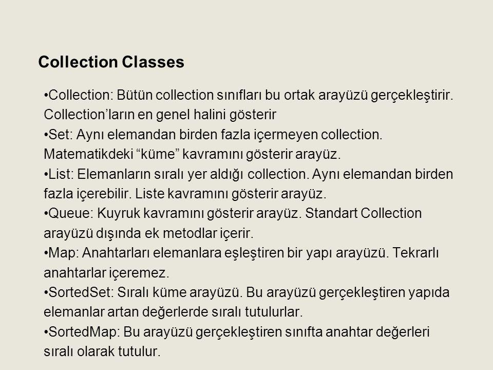 Collection: Bütün collection sınıfları bu ortak arayüzü gerçekleştirir. Collection'ların en genel halini gösterir Set: Aynı elemandan birden fazla içe