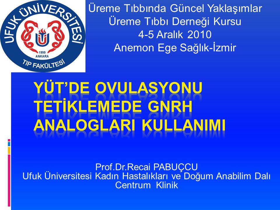 Prof.Dr.Recai PABUÇCU Ufuk Üniversitesi Kadın Hastalıkları ve Doğum Anabilim Dalı Centrum Klinik Üreme Tıbbında Güncel Yaklaşımlar Üreme Tıbbı Derneği Kursu 4-5 Aralık 2010 Anemon Ege Sağlık-İzmir