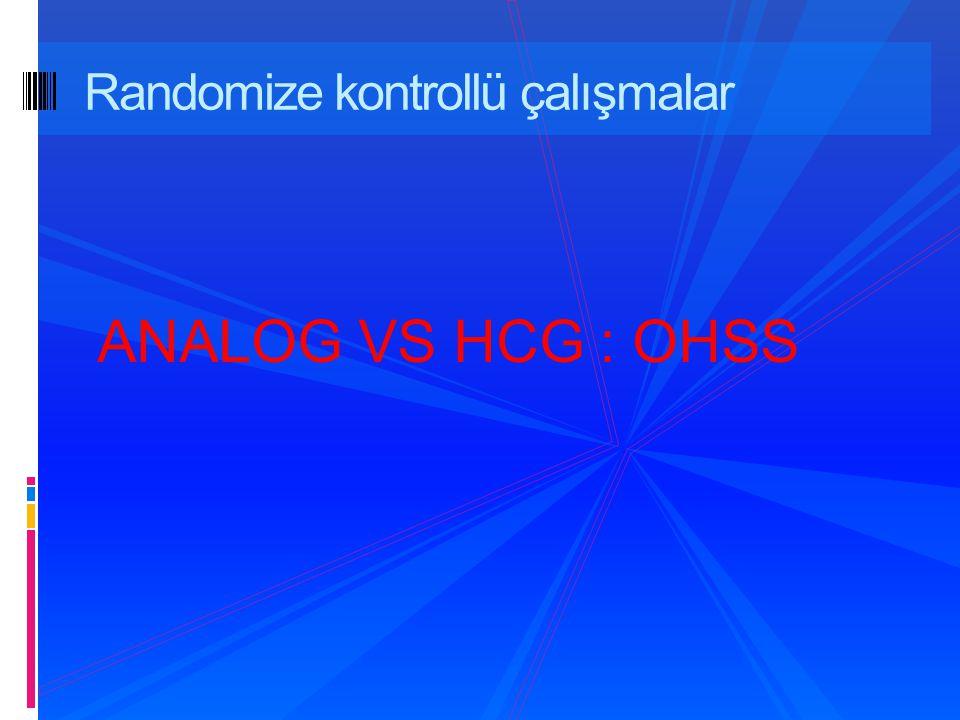 Randomize kontrollü çalışmalar ANALOG VS HCG : OHSS