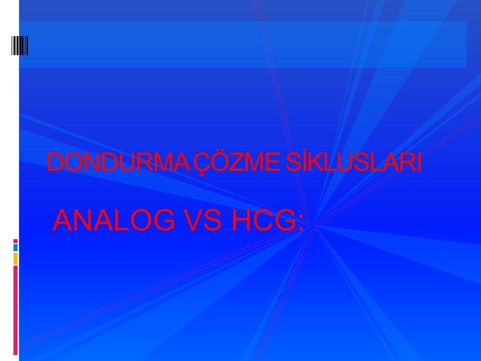 DONDURMA ÇÖZME SİKLUSLARI ANALOG VS HCG: