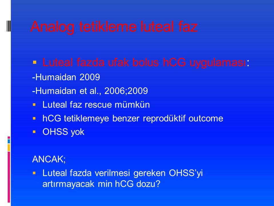 Analog tetikleme luteal faz  Luteal fazda ufak bolus hCG uygulaması: -Humaidan 2009 -Humaidan et al., 2006;2009  Luteal faz rescue mümkün  hCG tetiklemeye benzer reprodüktif outcome  OHSS yok ANCAK;  Luteal fazda verilmesi gereken OHSS'yi artırmayacak min hCG dozu?