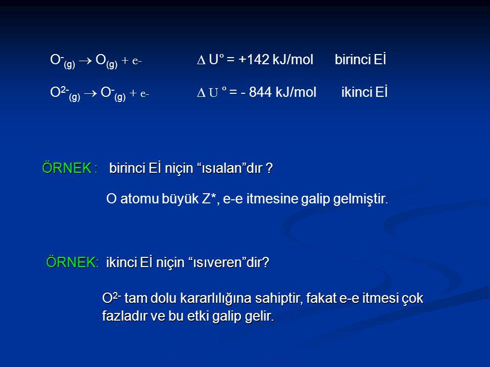 """O - (g)  O (g) + e-  U° = +142 kJ/mol birinci Eİ O 2- (g)  O - (g) + e-  U ° = - 844 kJ/mol ikinci Eİ ÖRNEK : birinci Eİ niçin """"ısıalan""""dır ? O"""