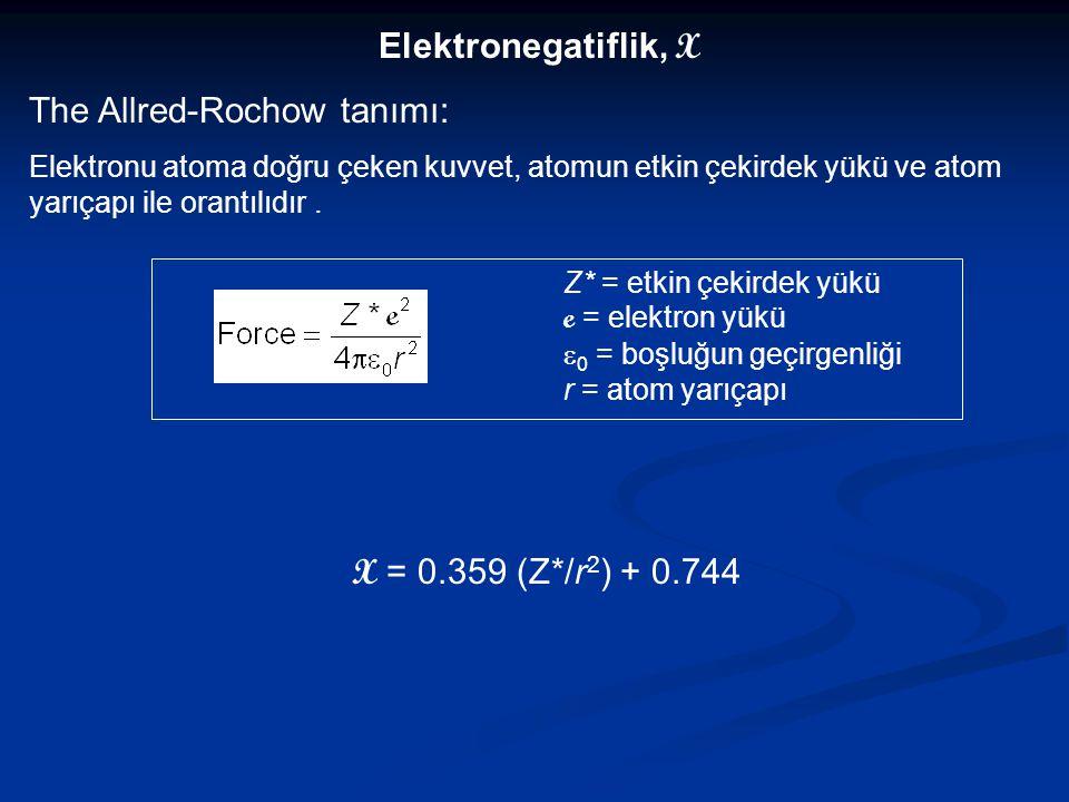 Elektronegatiflik, X The Allred-Rochow tanımı: Elektronu atoma doğru çeken kuvvet, atomun etkin çekirdek yükü ve atom yarıçapı ile orantılıdır. Z* = e