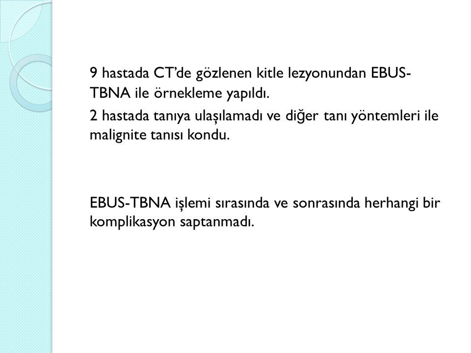 9 hastada CT'de gözlenen kitle lezyonundan EBUS- TBNA ile örnekleme yapıldı. 2 hastada tanıya ulaşılamadı ve di ğ er tanı yöntemleri ile malignite tan