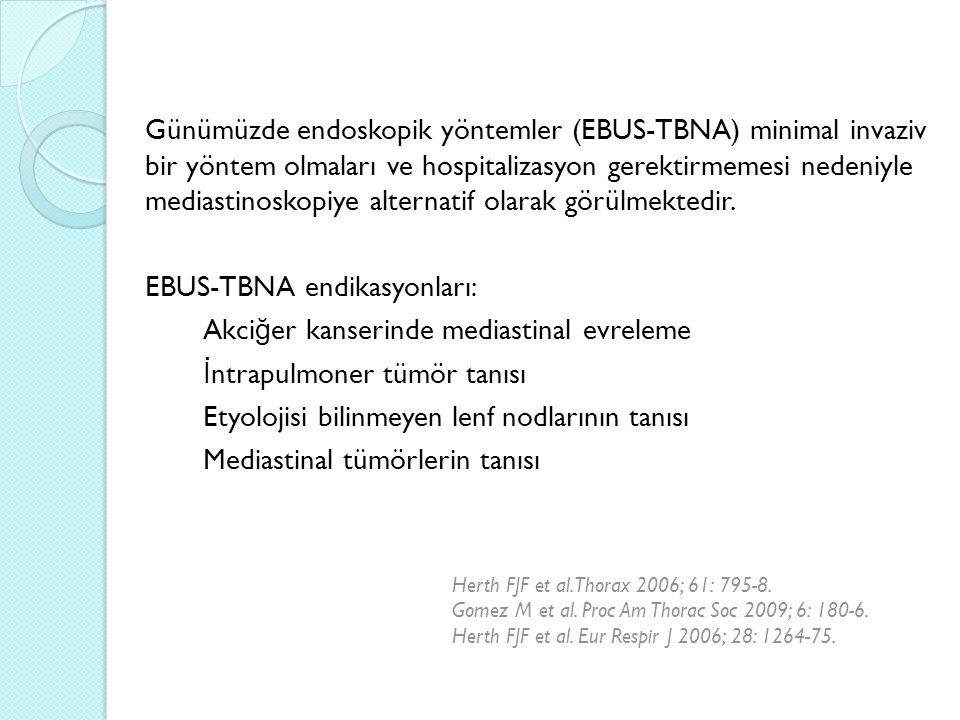 Günümüzde endoskopik yöntemler (EBUS-TBNA) minimal invaziv bir yöntem olmaları ve hospitalizasyon gerektirmemesi nedeniyle mediastinoskopiye alternatif olarak görülmektedir.