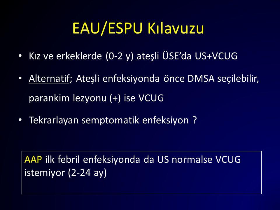 EAU/ESPU Kılavuzu Kız ve erkeklerde (0-2 y) ateşli ÜSE'da US+VCUG Alternatif; Ateşli enfeksiyonda önce DMSA seçilebilir, parankim lezyonu (+) ise VCUG