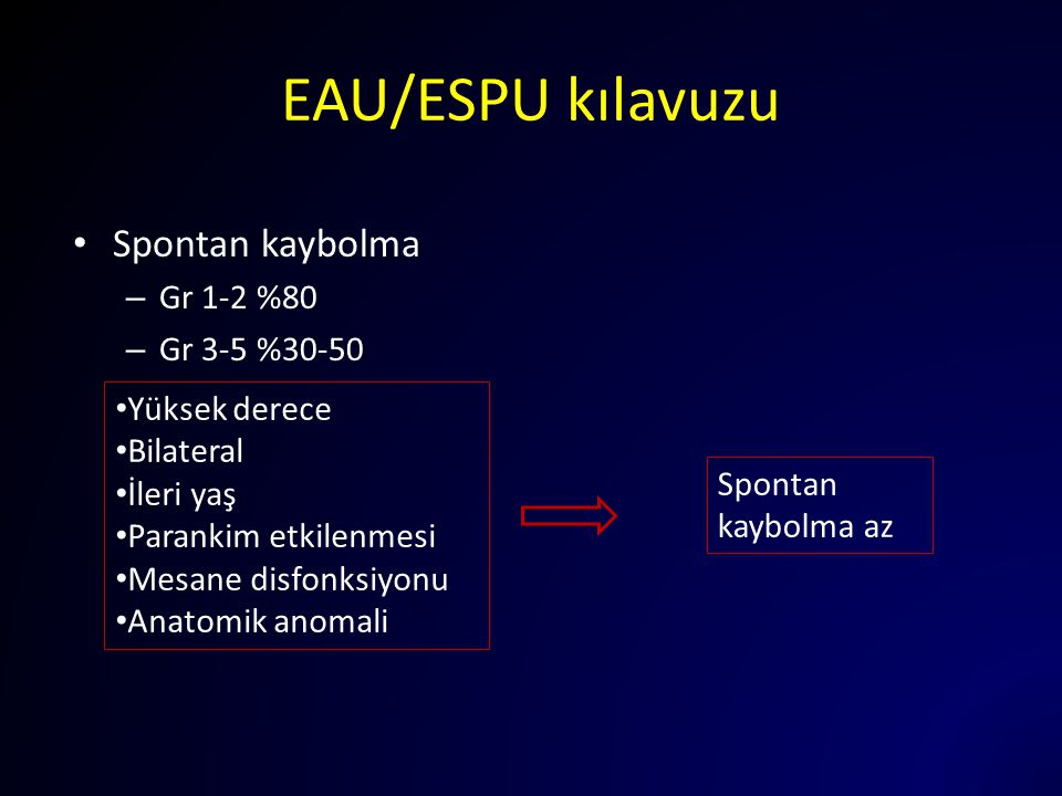 EAU/ESPU kılavuzu Spontan kaybolma – Gr 1-2 %80 – Gr 3-5 %30-50 Yüksek derece Bilateral İleri yaş Parankim etkilenmesi Mesane disfonksiyonu Anatomik a