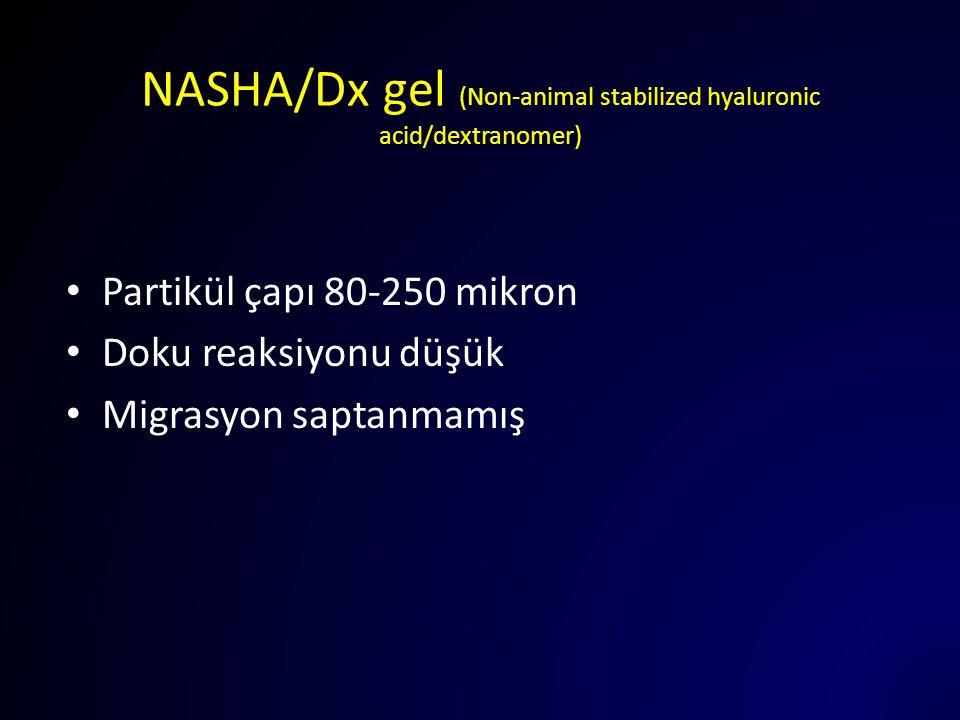 NASHA/Dx gel (Non-animal stabilized hyaluronic acid/dextranomer) Partikül çapı 80-250 mikron Doku reaksiyonu düşük Migrasyon saptanmamış