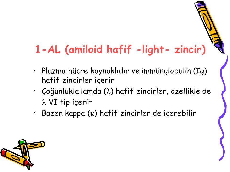 1-AL (amiloid hafif -light- zincir) Plazma hücre kaynaklıdır ve immünglobulin (Ig) hafif zincirler içerir Çoğunlukla lamda ( ) hafif zincirler, özellikle de VI tip içerir Bazen kappa (  ) hafif zincirler de içerebilir