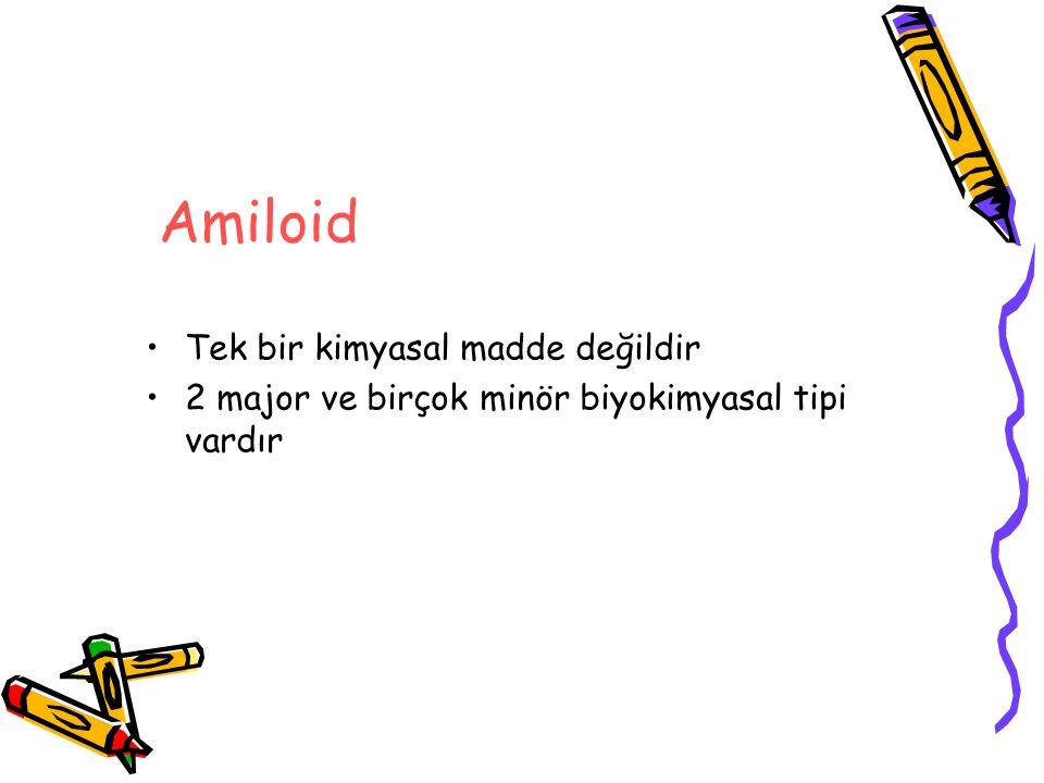 Amiloid Tek bir kimyasal madde değildir 2 major ve birçok minör biyokimyasal tipi vardır
