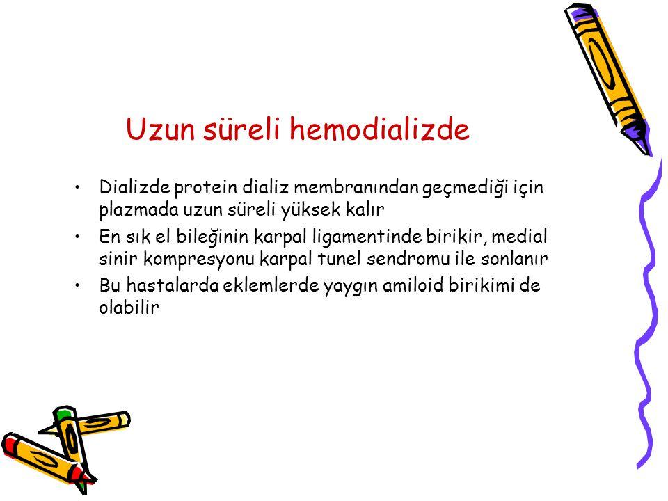 Uzun süreli hemodializde Dializde protein dializ membranından geçmediği için plazmada uzun süreli yüksek kalır En sık el bileğinin karpal ligamentinde birikir, medial sinir kompresyonu karpal tunel sendromu ile sonlanır Bu hastalarda eklemlerde yaygın amiloid birikimi de olabilir