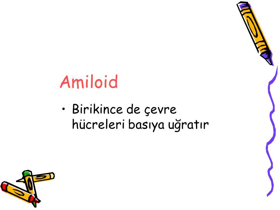 Amiloidi Fibrin, skleroz, fibrozis, fibrin trombusu, hyalin gibi diğer benzer birikimlerden ayırmak için Histokimyasal teknikler kullanılır En yaygın kullanılan ve güvenilir olan Congo red boyasıdır