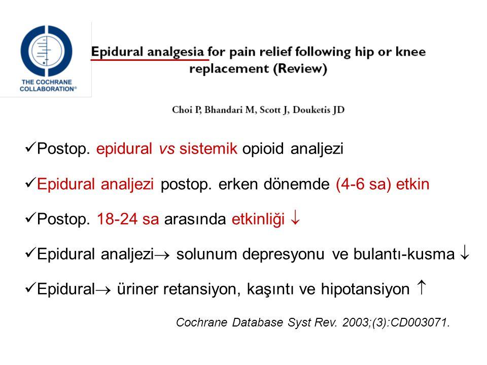 Postop. epidural vs sistemik opioid analjezi Epidural analjezi postop. erken dönemde (4-6 sa) etkin Postop. 18-24 sa arasında etkinliği  Epidural ana
