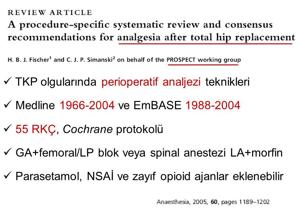 TKP olgularında perioperatif analjezi teknikleri Medline 1966-2004 ve EmBASE 1988-2004 55 RKÇ, Cochrane protokolü GA+femoral/LP blok veya spinal anest