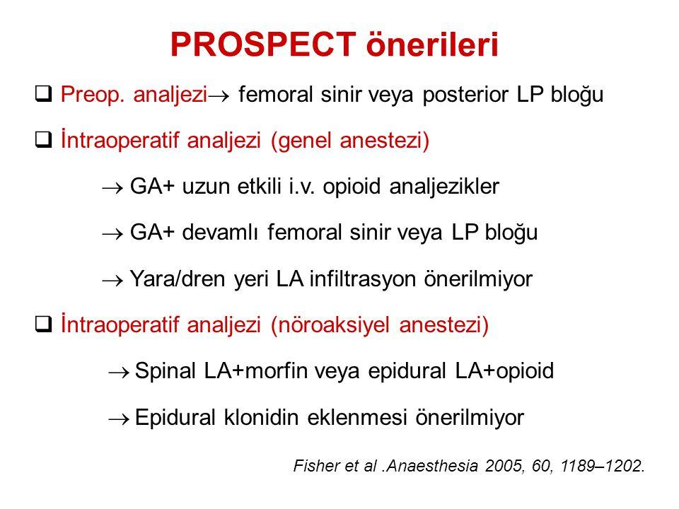  Preop. analjezi  femoral sinir veya posterior LP bloğu  İntraoperatif analjezi (genel anestezi)  GA+ uzun etkili i.v. opioid analjezikler  GA+ d