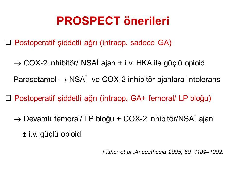 Fisher et al.Anaesthesia 2005, 60, 1189–1202.  Postoperatif şiddetli ağrı (intraop. sadece GA)  COX-2 inhibitör/ NSAİ ajan + i.v. HKA ile güçlü opio