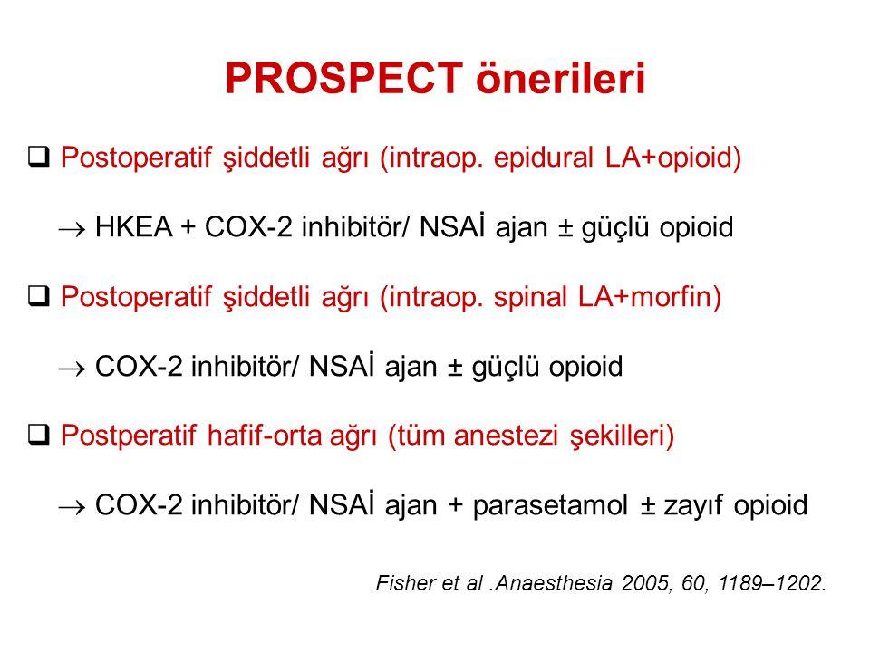 PROSPECT önerileri  Postoperatif şiddetli ağrı (intraop. epidural LA+opioid)  HKEA + COX-2 inhibitör/ NSAİ ajan ± güçlü opioid  Postoperatif şiddet