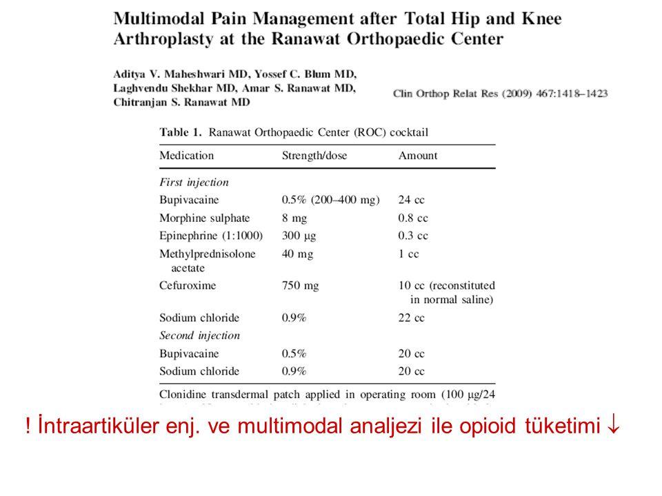 ! İntraartiküler enj. ve multimodal analjezi ile opioid tüketimi 