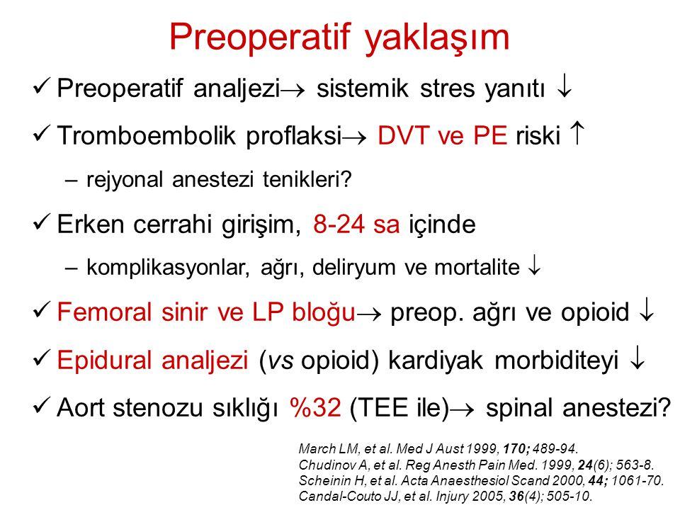 Preoperatif yaklaşım Preoperatif analjezi  sistemik stres yanıtı  Tromboembolik proflaksi  DVT ve PE riski  –rejyonal anestezi tenikleri? Erken ce